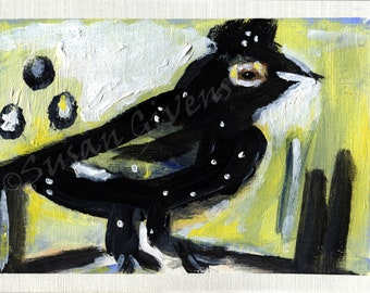Original Acrylic Crow Painting 5 x 8 Inches Crow Lover Art Bird Art Painting Funny Crow Painting BUY One Item and CHOOSE A Second One Free