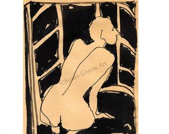 Frank Lloyd Wright Inspiration Ink Sketch Wrights Johnson Wax Nude Woman Slippery Woman Nude Under Desk Black on Tan BUY One CHOOSE One Free
