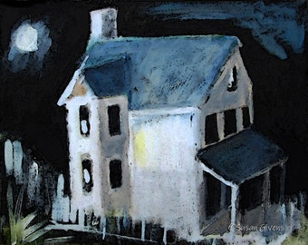 Spooky Surreal Art House in Moonlight Leaning Porch Roof, Two Story House Hand-painted Art Digital Tweaking BUY One CHOOSE One Free