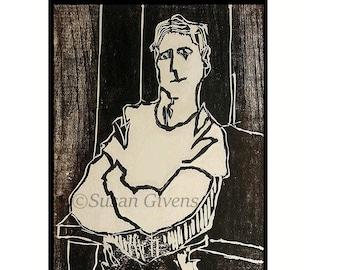 Woodblock Man Print, Portrait In Wood, Woodblock Man Art, Masculine Print Art, Portrait In Wood, Folded Arms Art, BUY One GET One Free