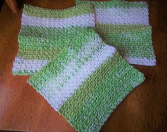 Set of 3  cotton dishcloths, Color Key Lime Pie, Green self stripping, Crochet accessory, Kitchen