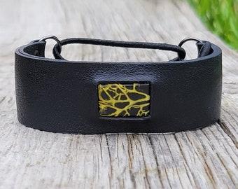 washington lichen stretchy black leather cuff