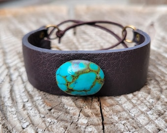 blue turquoise dark brown leather stretchy corest cuff