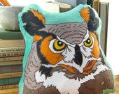 Great Horned Owl Pillow / Stuffie / Plushie | Super Soft Birder Gift Wildlife Nature Raptor