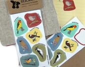 Woodland Bird Stickers | Waterproof Vinyl | 2 sheets of 6 | songbird nature wildlife birder outdoors audubon colorful decal