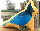 Steller's Jay Pillow / Stuffie / Plushie | Super Soft Birder Gift Wildlife Nature Songbird Audubon Birdwatcher