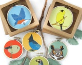 Wild Bird + Animal Ornament or Mini Hanging | 30 Designs | songbird woodland cute critters stocking stuffer christmas decor wildlife