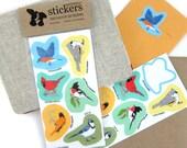 Eastern Backyard Bird Stickers | Waterproof Vinyl | 2 sheets of 6 | songbird nature wildlife birder outdoors audubon colorful decal