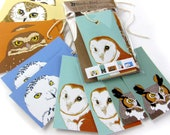 10 Owl Gift Tags | 2 Each of 6 Designs | Printed on Recycled Paper | bird mini card cute nature wildlife outdoors birder