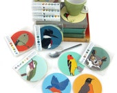 Set of 6 Vegan Leather Wild Bird Coasters | Choose from 10 Different Sets | nature wildlife hostess gift outdoors birder birding cute