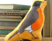 Robin Mini-Pillow, Stuffie, Plush, Super Soft, Baby Gift, Bird Lover Gift