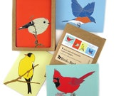 Box of  Songbird Note Cards | 2 Each of 4 Designs | Printed on Recycled Paper | blank notecard greeting card cardinal bluebird birder