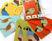 10 Wild Bird Gift Tags | 2 Each of 6 Designs | Printed on Recycled Paper | bird mini card cute nature wildlife outdoors birder