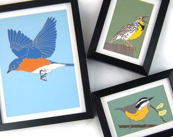 Wild Bird Prints   8.5 x 11 Inches   Original Artwork: Choose from 30+ Modern, Colorful Designs  