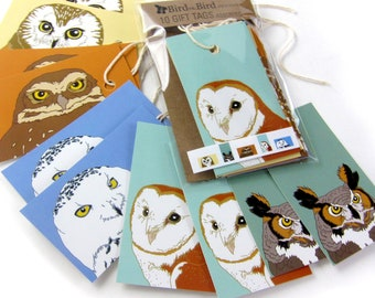 10 Owl Gift Tags   2 Each of 6 Designs   Printed on Recycled Paper   bird mini card cute nature wildlife outdoors birder
