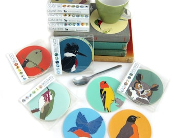 Set of 6 Vegan Leather Wild Bird Coasters   Choose from 10 Different Sets   nature wildlife hostess gift outdoors birder birding cute