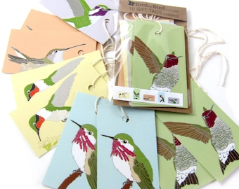 10 Hummingbird Gift Tags   2 Each of 6 Designs   Printed on Recycled Paper   bird mini card cute nature wildlife outdoors birder