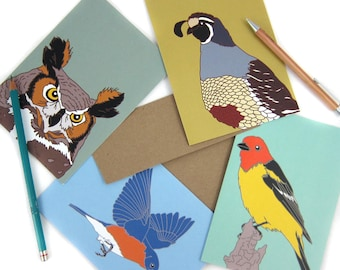 Bird Note Cards Mix + Match 8   Choose from 36 Designs   Printed on Recycled Paper   blank card wildlife birder nature outdoors audubon