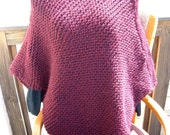 Super Sale - Deep Claret - 22 inch x 32 inch - Knitted Poncho - FREE SHIPPING