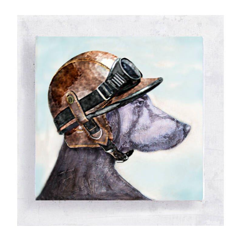 Dog Art  Weimaraner with Motorcycle Helmet  Canvas Print on image 0