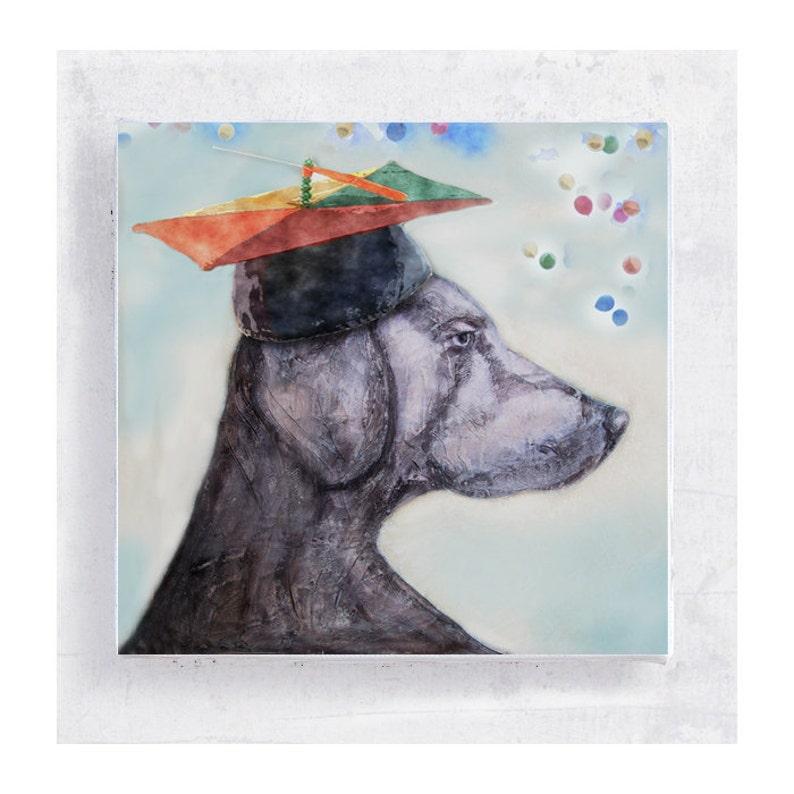 Whimsical Art   Weimaraner with Graduation Cap Canvas Print image 0