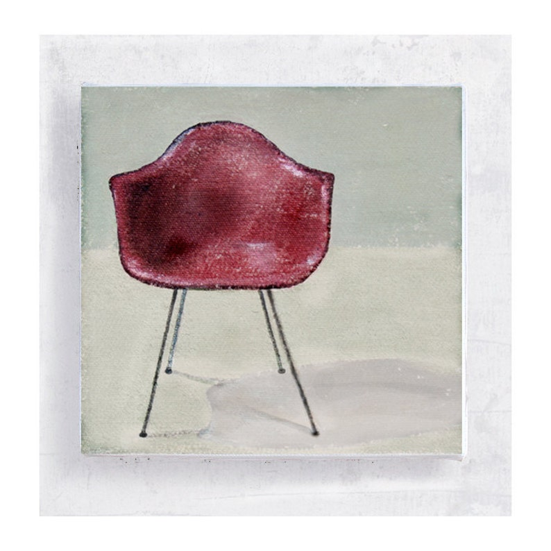 Chair Art  Eames Pink Shell Chair  Canvas Print on 5x5 Art image 0
