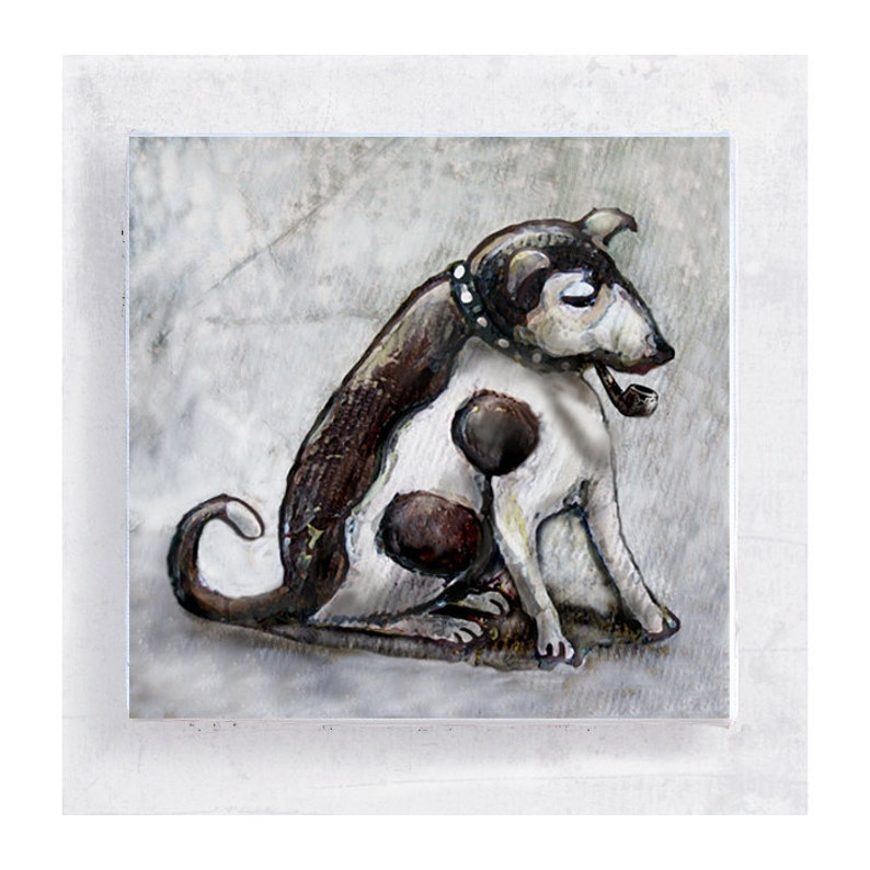 Dog Art  Whimsical  Pipe Smoking Jack Russell on 5x5 Canvas image 0