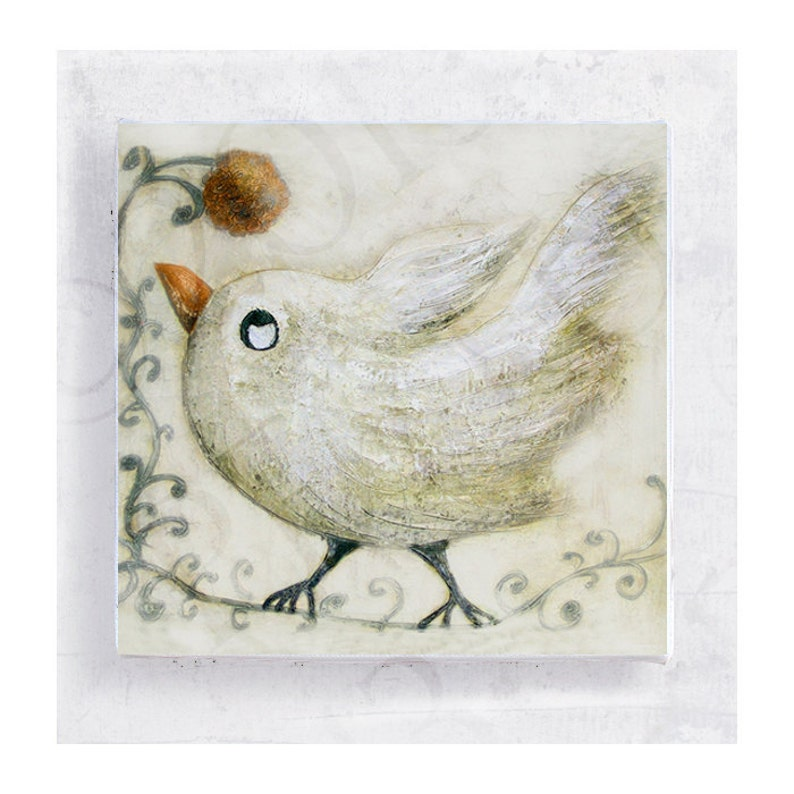 Bird Art  White Bird Print  White Bird with Flower on 5x5 image 0