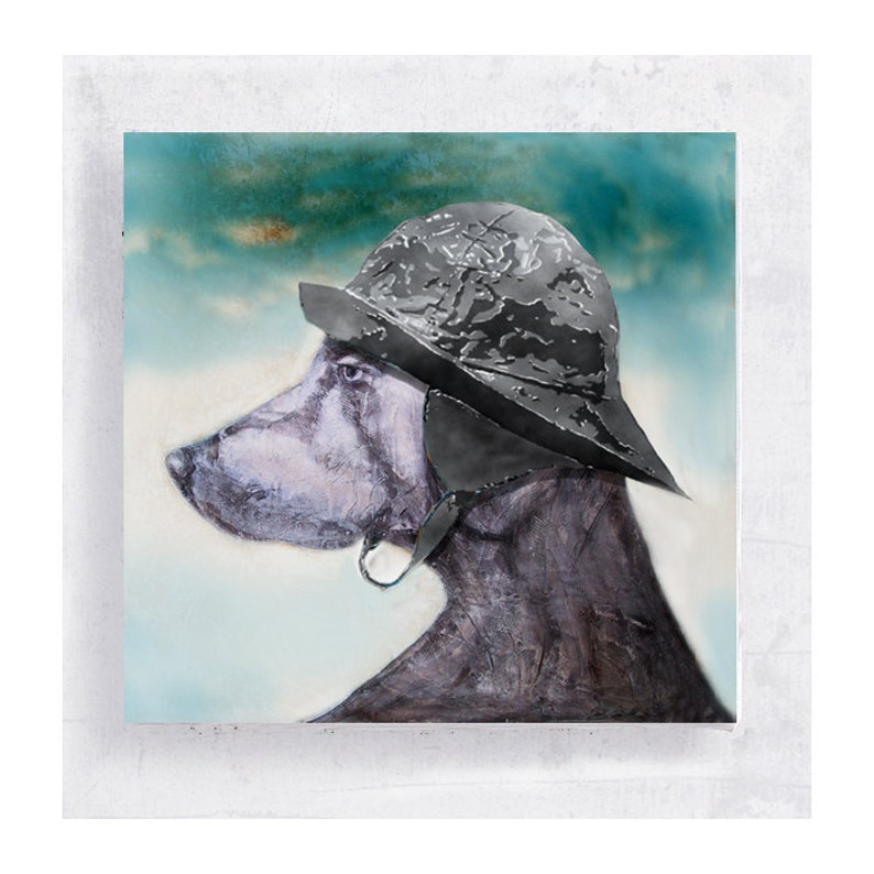 Dog Art  Weimaraner with Sou'wester Hat Canvas Print on image 0