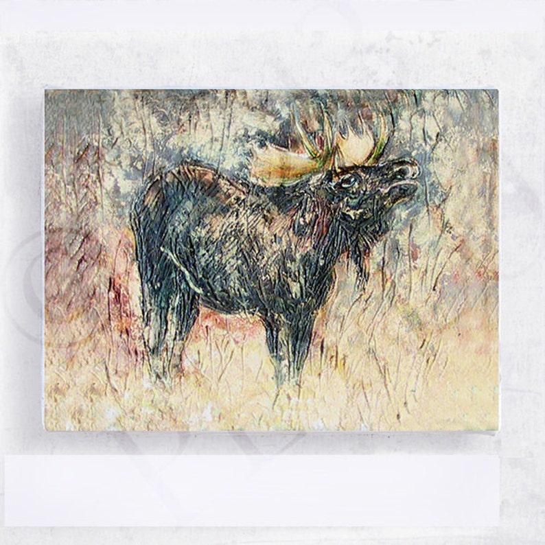 Moose Art  5x7 Canvas Print on Wood Block  Walk on the Wild image 0