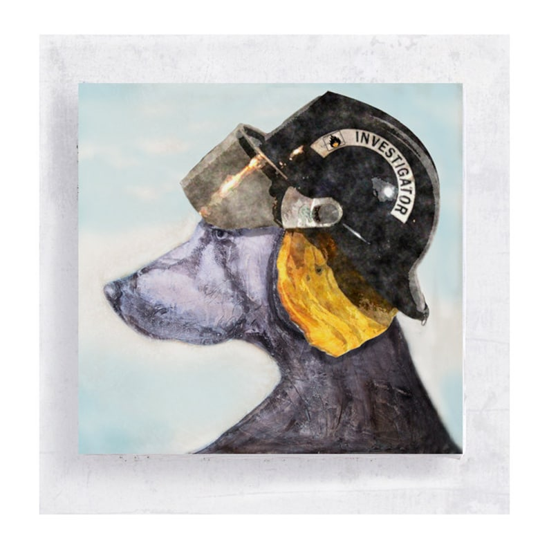Animal Art  Dog Art  Weimaraner with Fire Inspector Helmet  image 0