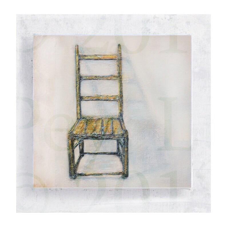 Chair Art   Primitive Chair Portrait on 5x5 Canvas Print image 0