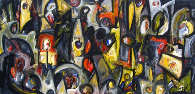 Tantalus original Abstract Urban Expressionism oil on canvas image 0