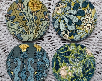 Moody Blue -- Art Nouveau Floral Pattern Mousepad Coaster Set