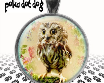 Owlet -- Vintage-Style Owl Image Large Glass-Covered Pendant