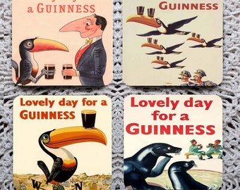 Lovely Day for a Guinness -- Vintage Advertising Mousepad Coaster Set