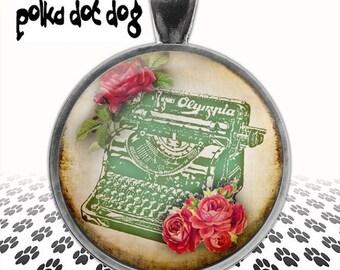 Paperback Writer -- Bohemian Style Typewriter Large Glass-Covered Pendant