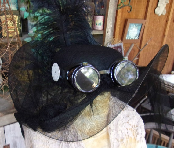49bef351 Black Felt Steampunk Curated Full Size Netted Hat Chapeau Watch Dial  Goggles Rusted Safety Pin Patina Nuts Shabby Playing Cards Rare