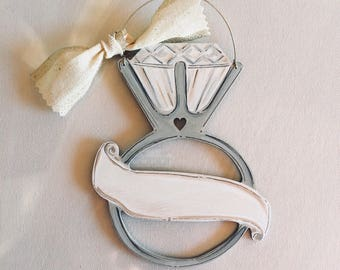 Engagement Ring Ornament - Rustic- engagement gift - personalized - bridal shower gift - painted wood - ring - Christmas ornament