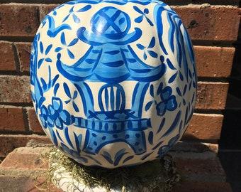 Chinoiserie pumpkin - blue chinoiserie pumpkin - toile pumpkin - foam pumpkin - pagoda on pumpkin - modern toile pumpkin - blue
