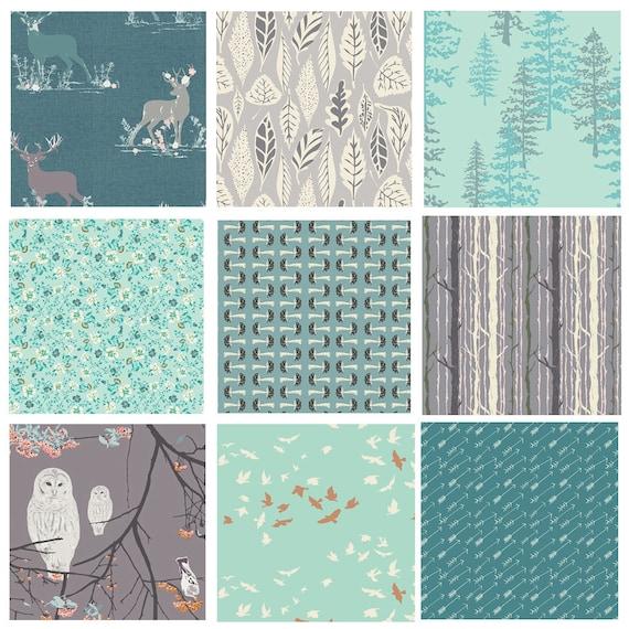 By 1//2 Yard Nightfall Bird of Night Mist Art Gallery Fabric AGF ~ Owl Beige Gray