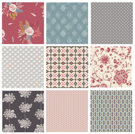 Custom Bundle of Art Gallery Fabrics Little Clementine Artisan Boho Fabrics for Quilting Red and Blue Floral Fat Quarters Bundle