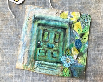 Original Art Collage Collage For A Dollhouse Tiny Bits of Torn Color Painted Paper on Canvas Wee Small Kids Fun