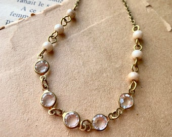 Vintage style crystal beaded necklace, layering necklace, romantic necklace, brass necklace, layered necklace, statement necklace,