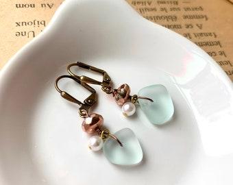 Sea glass beaded earrings, dangle earrings, sea glass jewelry, pearl dangle earrings,dainty earrings, everyday earrings, gift for her