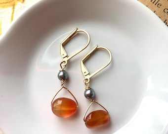Red agate and grey glass pearl earrings, gemstone earrings, dainty earrings, stone earrings, pearl earrings, small dangle, gift for her