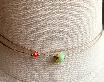 Jade and coral beaded choker necklace, double choker, gemstone choker, layering necklace, red and green necklace, dainty necklace