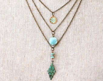 Layered necklace, layered charm necklace, multi chain necklace, tiered necklace, necklace set, boho necklace, bohemian necklace,