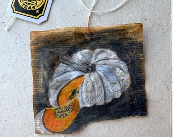 Tea bag painting, tea bag art, tiny art, watercolor painting, original art, recycled art, sustainable art, pumpkin art, fall, autumn, gourd