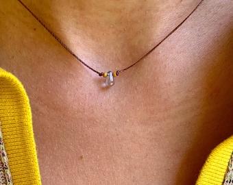 Tiny teardrop choker, choker necklace, simple choker, light blue, minimalist necklace, layering  necklace, dainty choker, boho choker